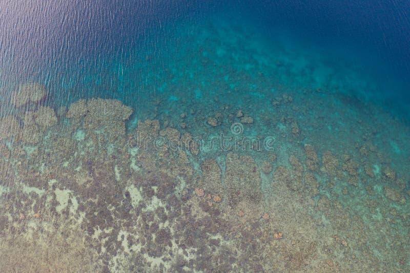 Вид с воздуха кораллового рифа в Индонезии стоковая фотография