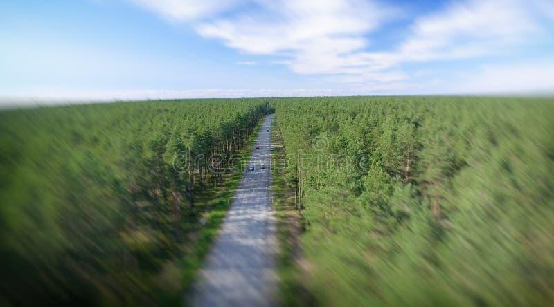 Вид с воздуха красивой дороги через лес стоковые фотографии rf