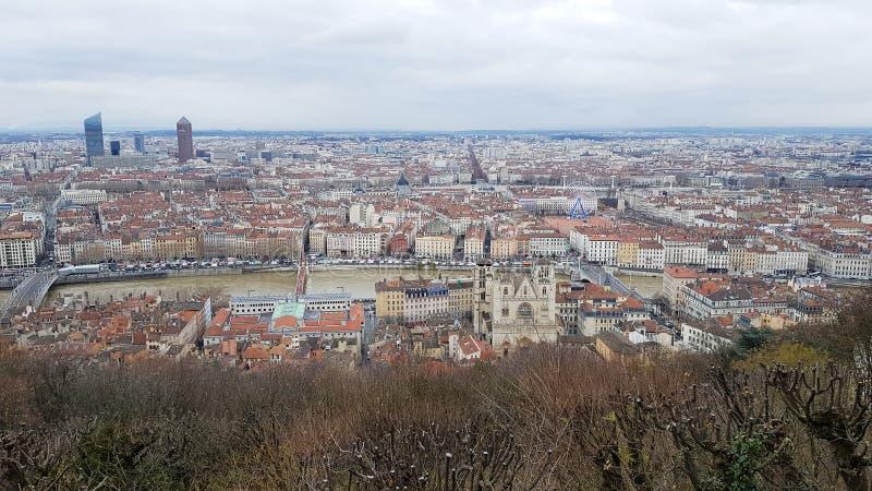 Вид с воздуха Лиона стоковая фотография