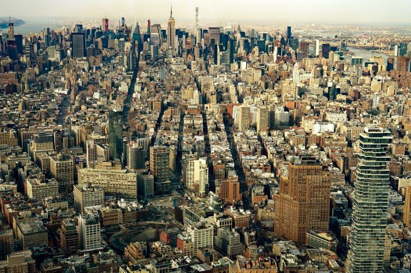 Вид с воздуха Манхаттана Нью-Йорка стоковая фотография rf