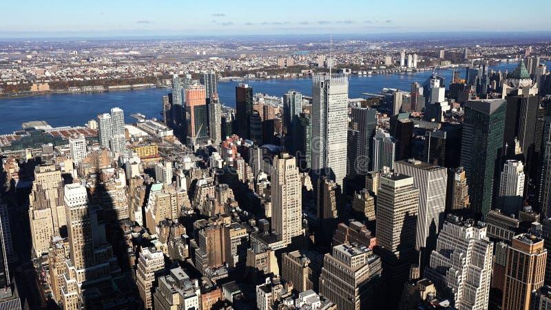 Вид с воздуха Манхэттена/вида с воздуха небоскребов центра города Манхэттена Нью-Йорка 2019 стоковые фотографии rf