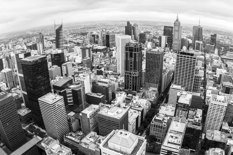 Вид с воздуха Мельбурна, Австралии принятой от башни Rialto Изображение Fisheye стоковая фотография rf