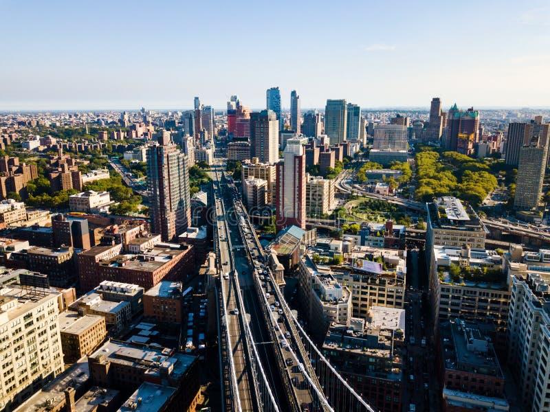 Вид с воздуха моста Бруклина и Манхаттана в Нью-Йорке стоковые фото