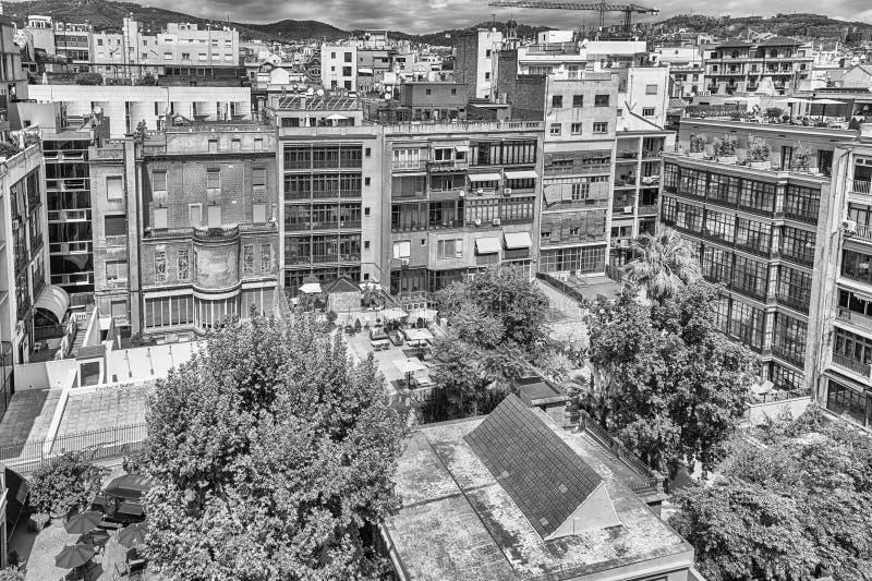Вид с воздуха над внутренним двором в Барселоне, Каталонии, курорте стоковая фотография rf