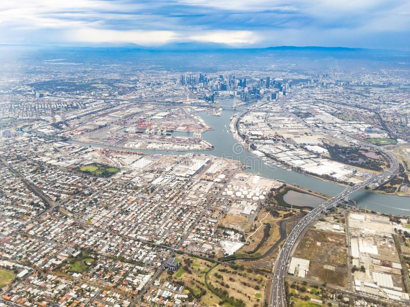 Вид с воздуха над Мельбурном Австралией стоковое фото