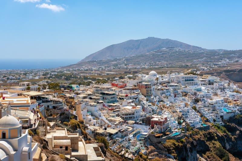 Вид с воздуха на городе Thira на острове Santorini, Греции стоковые фотографии rf