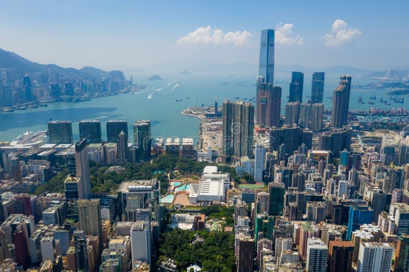 Вид с воздуха на город Гонконг стоковые изображения