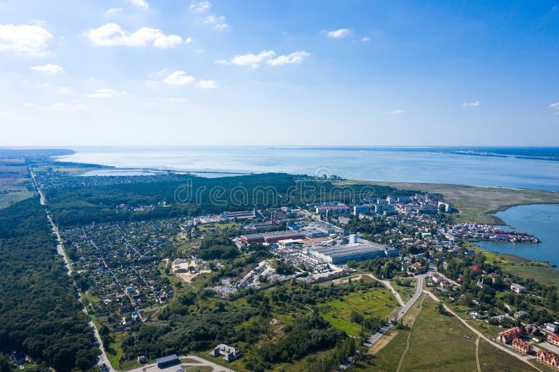 Вид с воздуха на деревню Прибрежный стоковая фотография rf