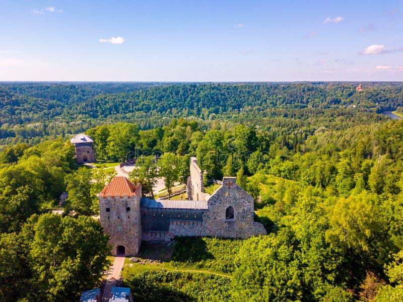 Вид с воздуха на красивом известном новом замке в Sigulda, Латвии стоковое фото rf