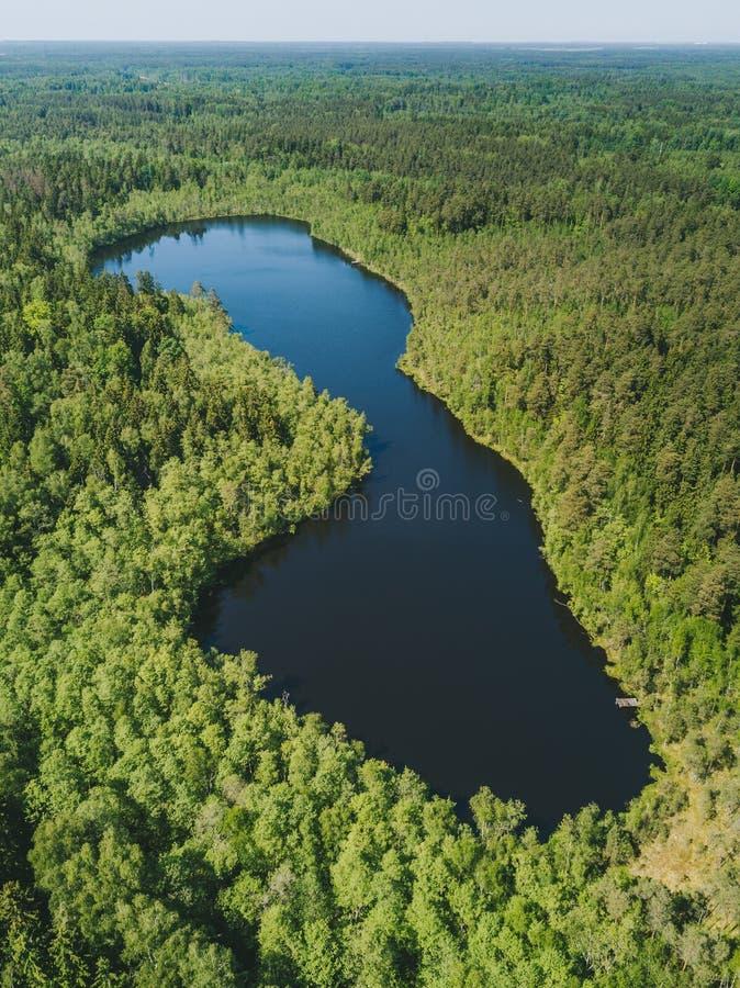 Вид с воздуха на небольшом озере стоковое изображение
