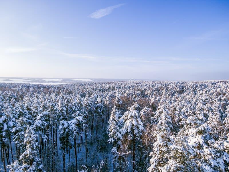 Вид с воздуха на озерах и реке леса снега замороженных на предпосылке Голубое небо, солнечный день стоковое изображение