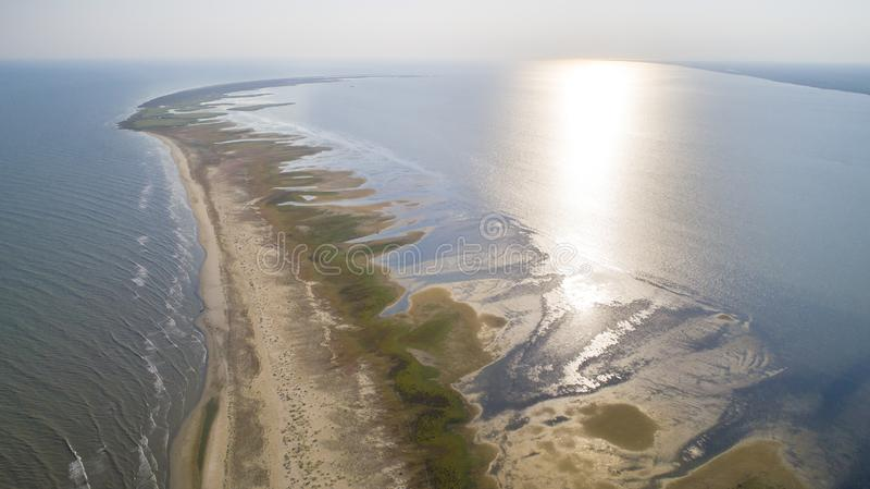 Вид с воздуха на полуостров Сакалин в дельте Дуная стоковая фотография rf