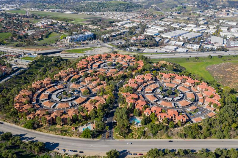 Вид с воздуха некоторого интересного круглого имущества на области Pomona стоковое изображение rf