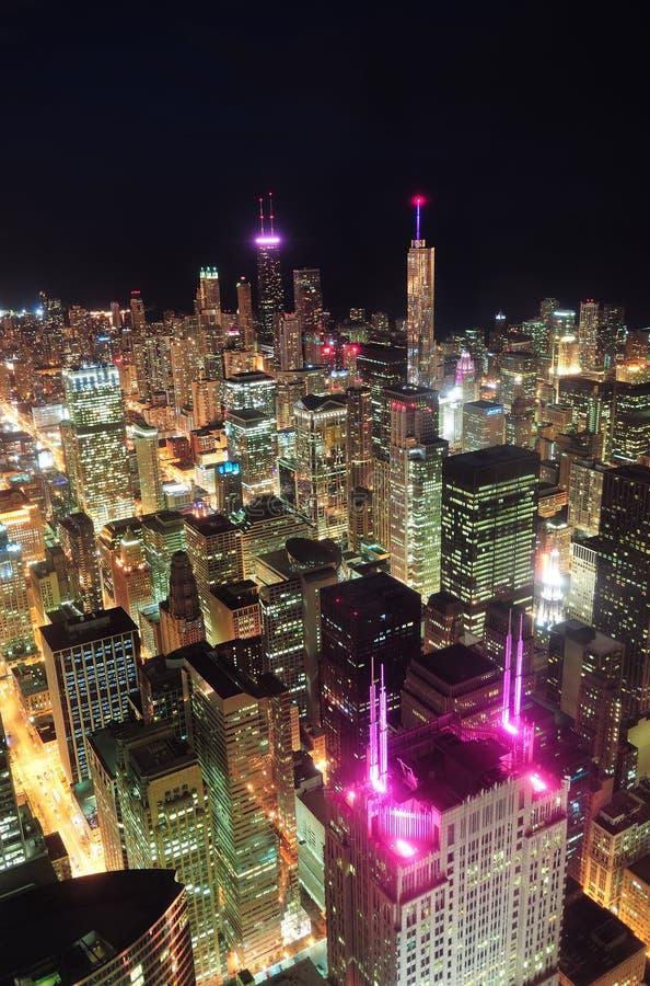 Вид с воздуха ночи Чiкаго стоковые фото
