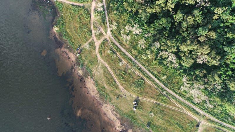 Вид с воздуха озера вдоль леса трутнем Тема ландшафта и природы стоковые изображения