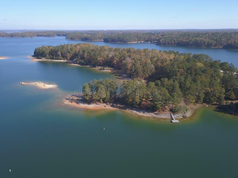 Вид с воздуха озера Lanier стоковая фотография