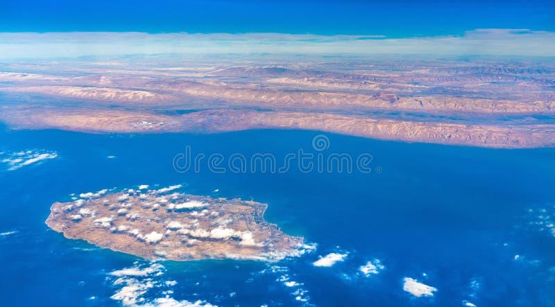 Вид с воздуха острова в Персидском заливе, Ирана Kish стоковая фотография rf
