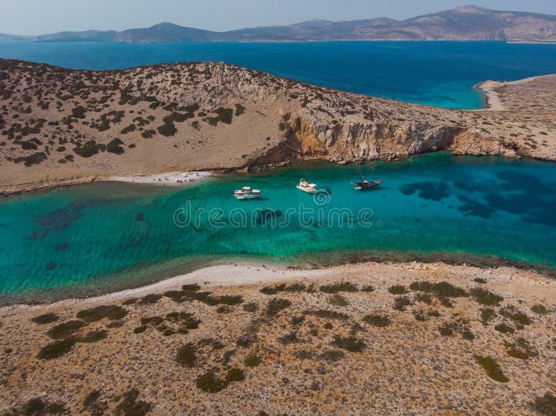 Вид с воздуха острова Kounoupa стоковая фотография rf