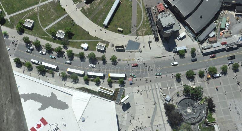 Вид с воздуха от района башни CN Торонто в провинции Канаде Онтарио стоковые изображения rf