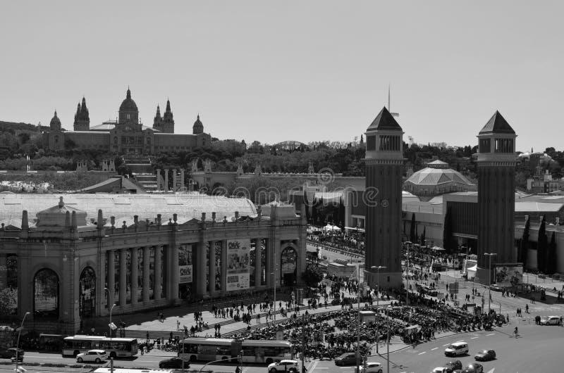 Вид с воздуха Площади de Espanya Квадрата, Барселоны, Каталонии, Испании r стоковое фото rf
