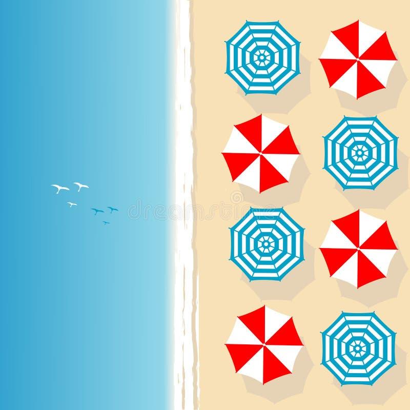 Вид с воздуха пляжа моря с зонтиками пляжа бесплатная иллюстрация