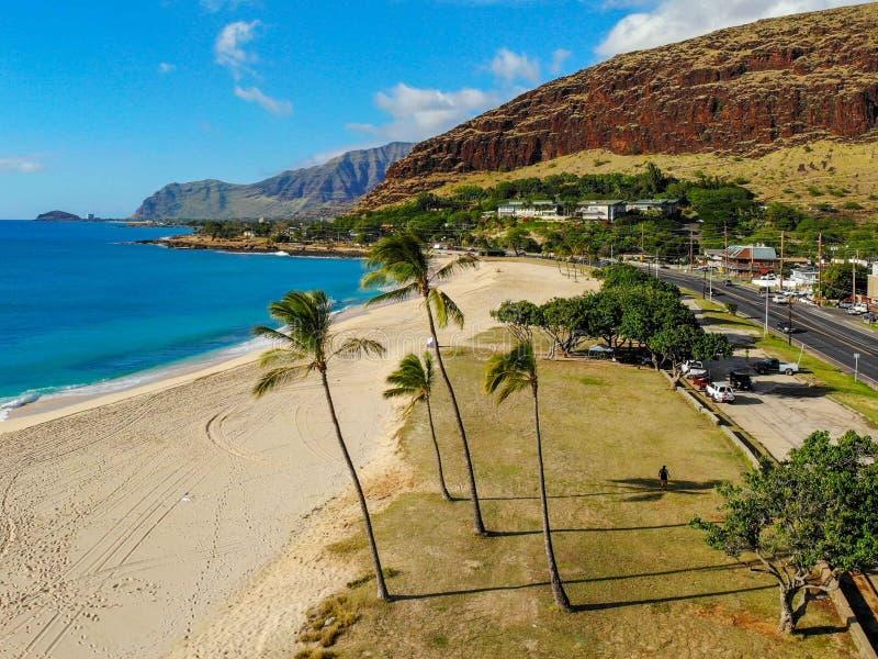 Вид с воздуха пляжа Mana Kai стоковое фото rf