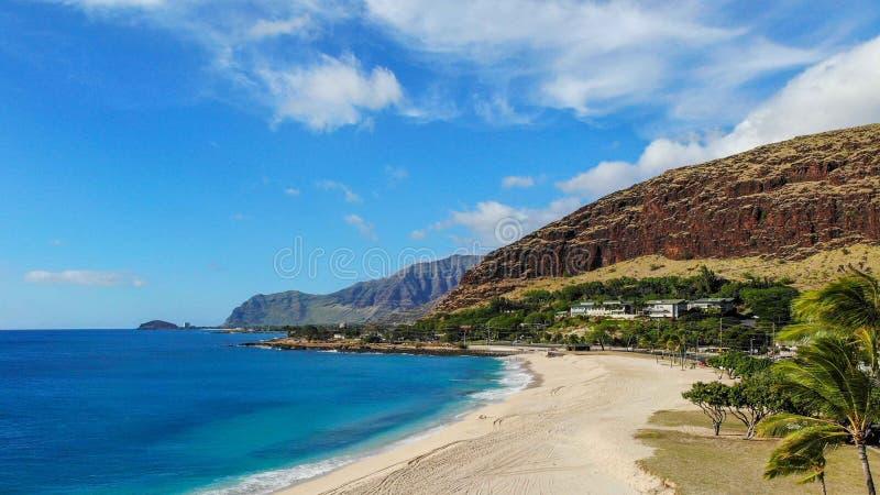 Вид с воздуха пляжа Mana Kai стоковые фото