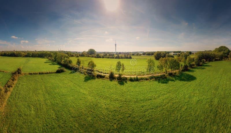 Вид с воздуха полей в солнце полдня около Эльбы в Шлезвиг-Гольштейне стоковые изображения rf
