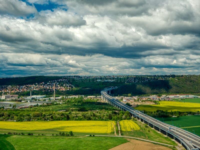 Вид с воздуха поля плантации стоковая фотография rf