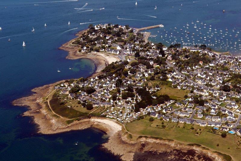 Вид с воздуха порта-Navaolo в Бретань, Франции стоковые изображения rf