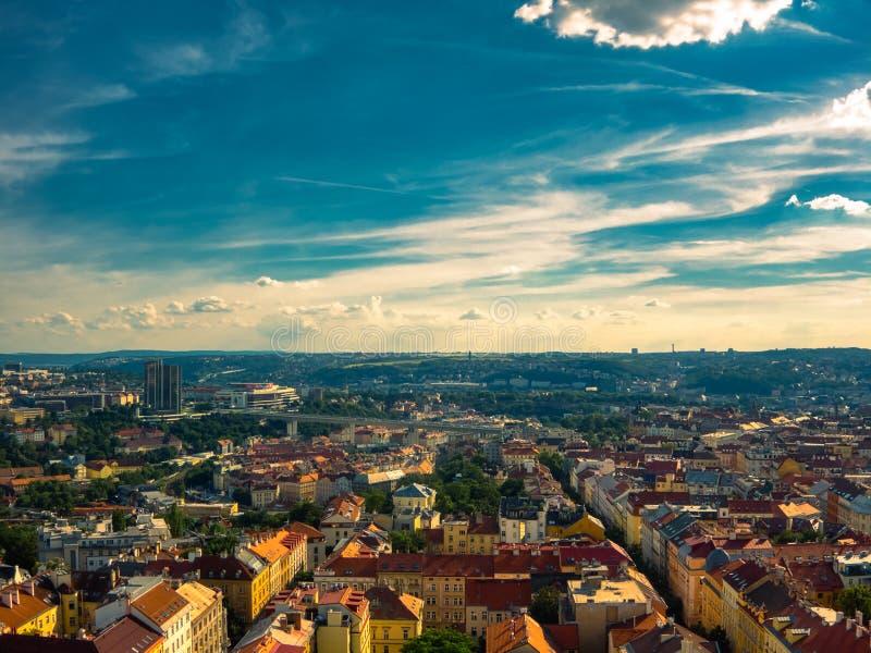 Вид с воздуха Праги стоковое фото