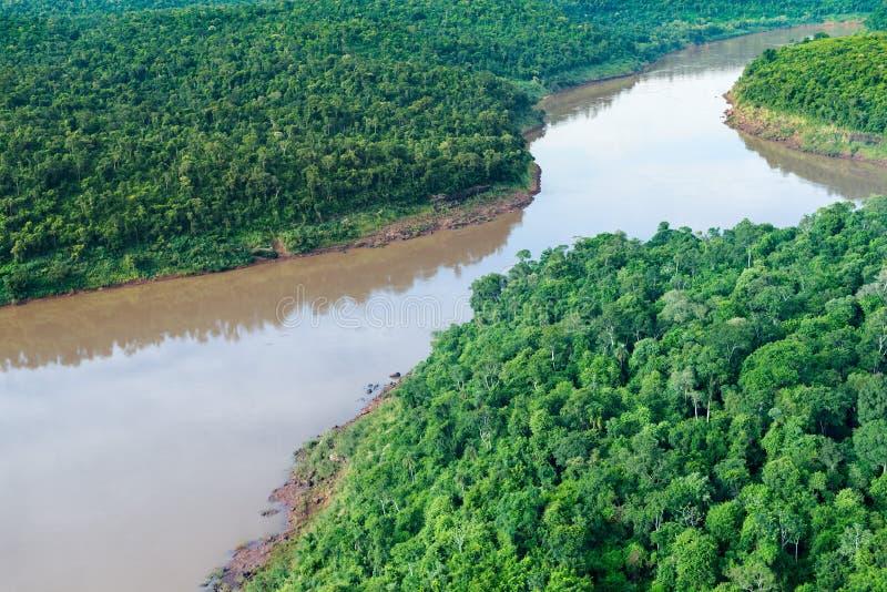 Вид с воздуха реки Iguazu стоковые фотографии rf