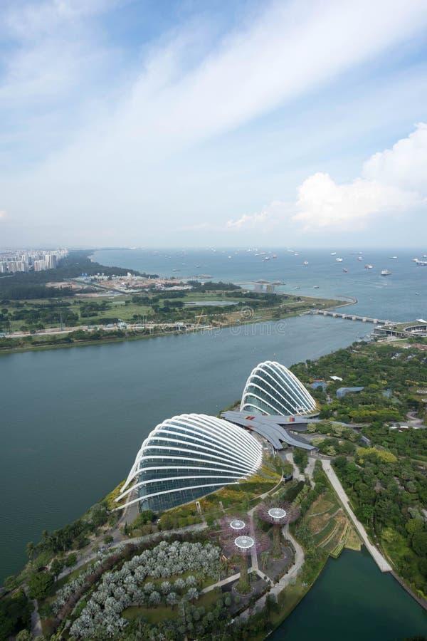 Вид с воздуха садов Сингапура заливом стоковая фотография rf