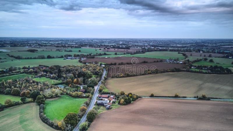 Вид с воздуха сельской местности Essex стоковая фотография