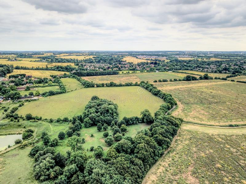 Вид с воздуха сельской местности Essex стоковые изображения
