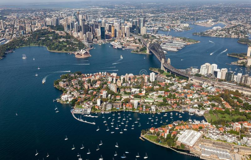 Вид с воздуха Сиднея CBD - NSW Австралия стоковое фото