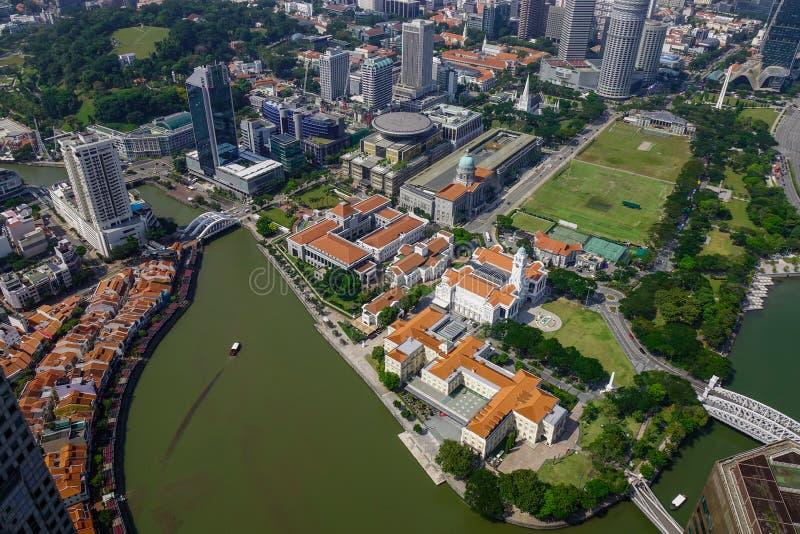 Вид с воздуха Сингапура стоковые фотографии rf