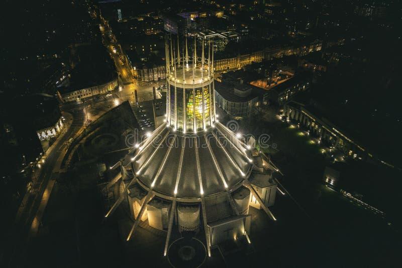 Вид с воздуха собора Ливерпуля столичный стоковое фото