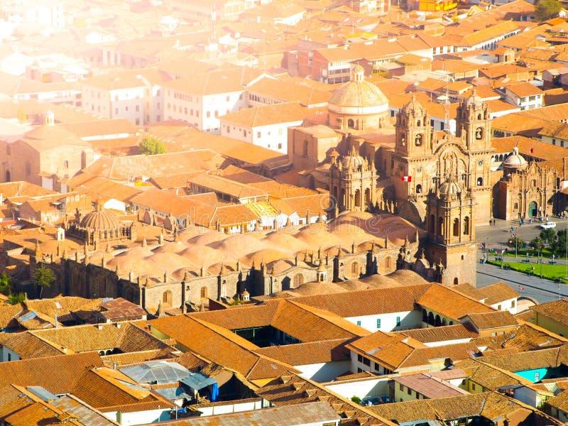 Вид с воздуха собора Cusco на Площади de Armas, Cusco, Перу стоковые фотографии rf