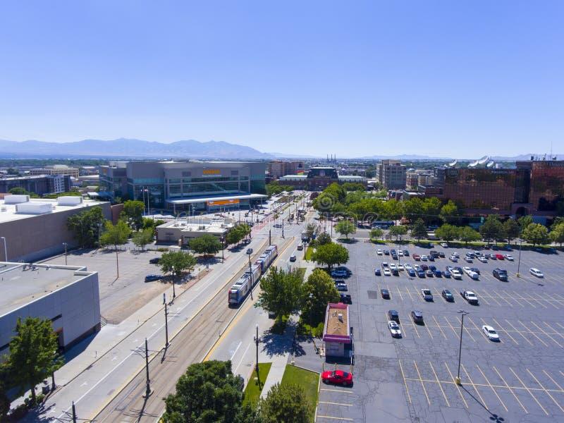 Вид с воздуха Солт-Лейк-Сити арены Vivint, Юта, США стоковое изображение rf