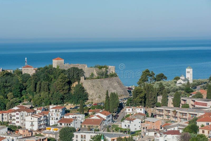Вид с воздуха старого городка Ulcinj, Черногории стоковое фото rf