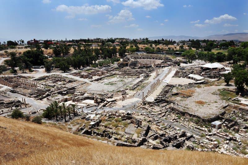 Вид с воздуха стародедовского Beit Shean стоковая фотография rf