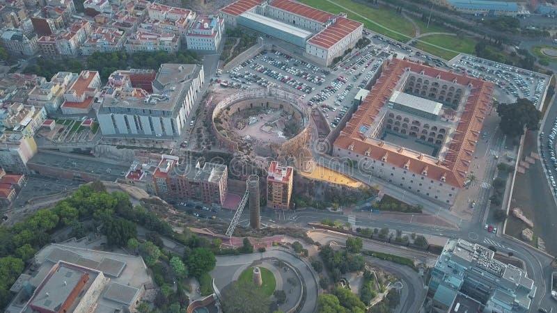 Вид с воздуха старой арены и политехнического университета Cartagena, Испании стоковое изображение