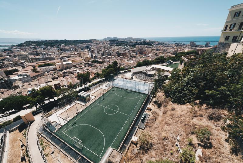 Вид с воздуха столицы Сардинии стоковое изображение