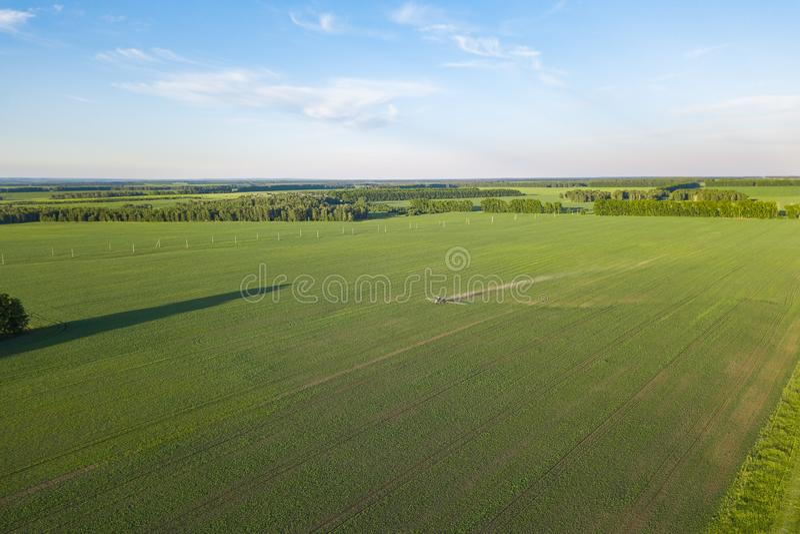Вид с воздуха трактора фермы в зеленом поле во время распылять и поливе с пестицидами и токсинами для растя еды, стоковые изображения rf