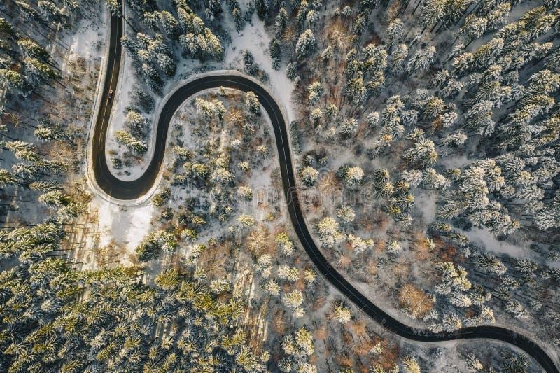 Вид с воздуха трутня извилистой дороги в середине леса со снегом на деревьях стоковая фотография rf