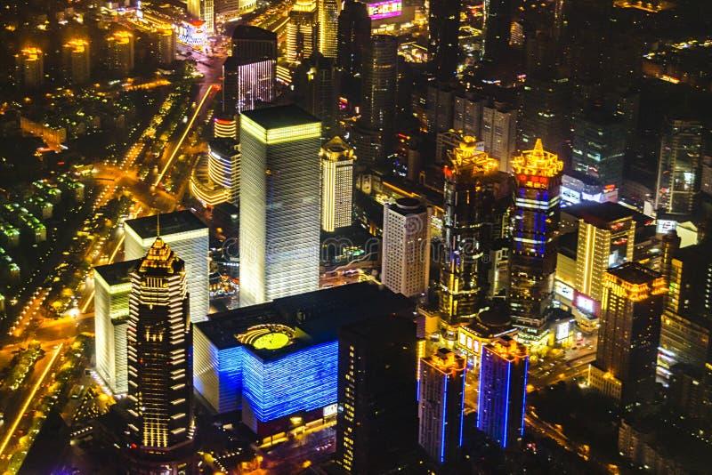 Вид с воздуха Шанхай сцены ночи, Китай стоковые изображения