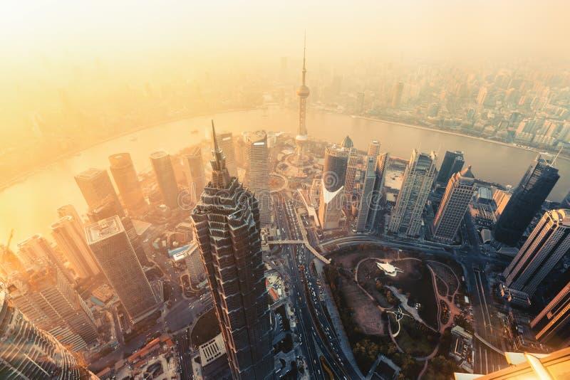 Вид с воздуха Шанхая стоковое фото rf