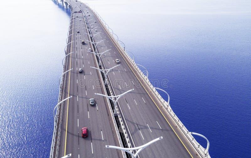 Вид с воздуха шоссе в океане Мост взаимообмена моста скрещивания автомобилей Взаимообмен шоссе с движением Воздушная птица ey стоковые изображения rf
