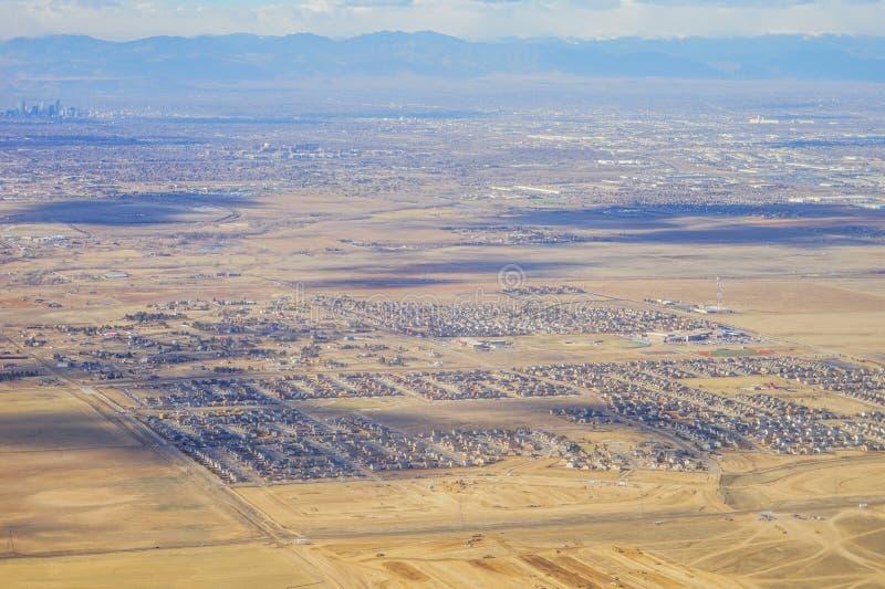 Вид с воздуха denver городской стоковое фото